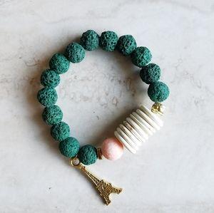Boho Lava Bead, Coral and Stone Parisian Bracelet